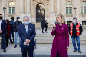 La ministre de l'Égalité entre les femmes et les hommes, Taina Bofferding, à côté de Dan Kersch. ((Photo: Romain Gamba / Maison Moderne))