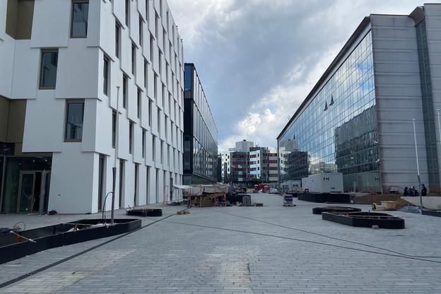 Le complexe OBH au Kirchberg, qui accueille le Mama Shelter et des bureaux, est en cours de finition. (Photo: Batipart)