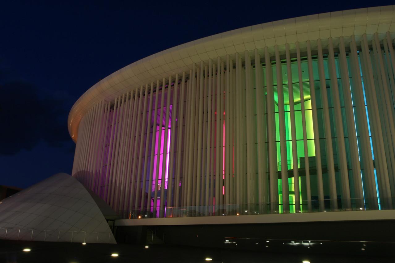 Luxembourg philharmonic Orchestra building at night. Kurt/Shutterstock.