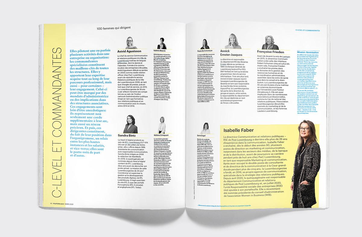 Les «100 femmes qui dirigent» présentées dans le magazine Paperjam sont réparties en trois catégories: «entrepreneures et associées», «dirigeantes salariées» et «C-level et commandantes spécialisées». (Illustration: Maison Moderne)