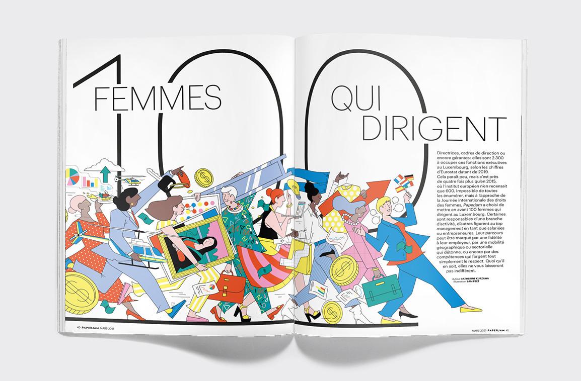2.300 femmes occupent des fonctions exécutives au Luxembourg, selon les chiffres d'Eurostat de 2019. Paperjam et sa journaliste Catherine Kurzawa ont choisi d'en mettre en avant 100, tout en proposant des listes thématiques complémentaires. (Illustration: Maison Moderne)