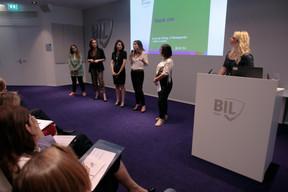 Ilana Devillers (Food4All), Stéphanie Jauquet (Cocottes), Aida Nazarikhorram (LuxAI), Elfy Pins (Supermiro) et Karine Vallière (Jumpbox), finalistes. ((Photo: Matic Zorman))