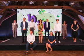 Frédéric David (Portakabin), Nicolas Tarnus (Tracol Immobilier), Pedro Castilho (Verbalius), Robby Cluyssen (JLL), Emma Zimer (Nouma), Denis Rosolen (BENG), Céline Coubray (Paperjam Architecture + Real Estate), Lotfi Behlouli (JLL), Barbara Brecko (Ginkgo), Marie Lucas (M3 Architectes) ((Photo: Patricia Pitsch/Maison Moderne))