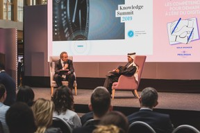 Laurent Probst (PwC) et Son Excellence Jamal bin Huwaireb (Mohammed Bin Rashid Al Maktoum Knowledge Foundation) ((Photo: Lucie von Lucilin))