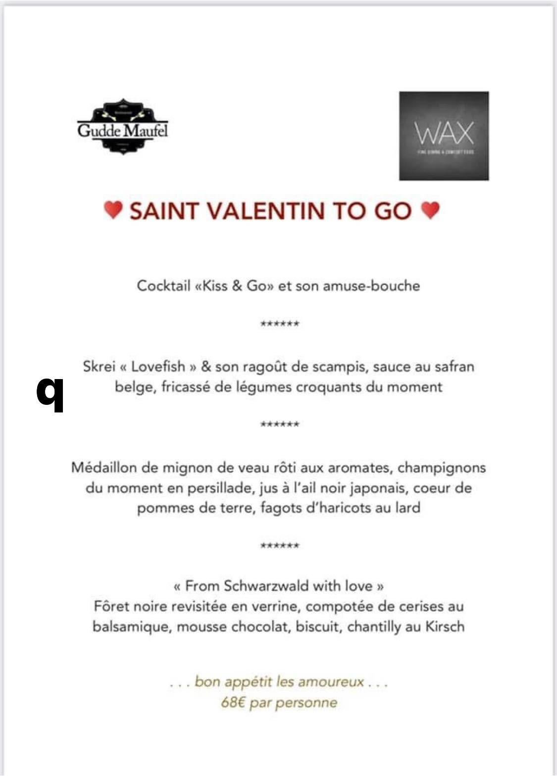Le menu de Saint-Valentin 2021 du restaurant Wax. (Photo: DR)