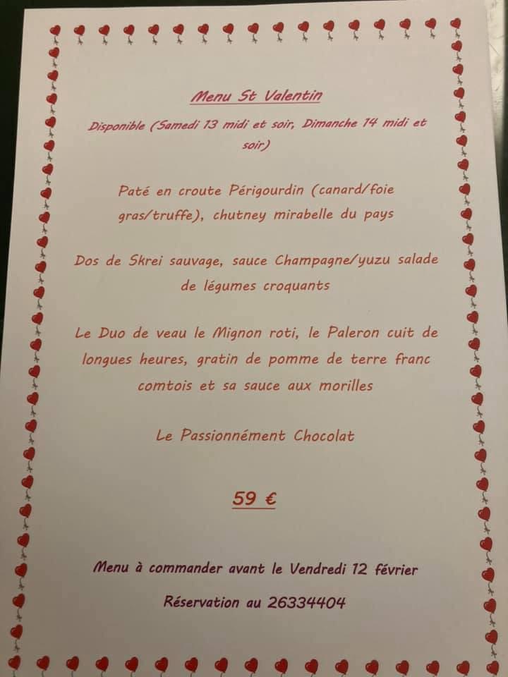 Le menu de Saint-Valentin 2021 du Lion d'Or. (Photo: DR)