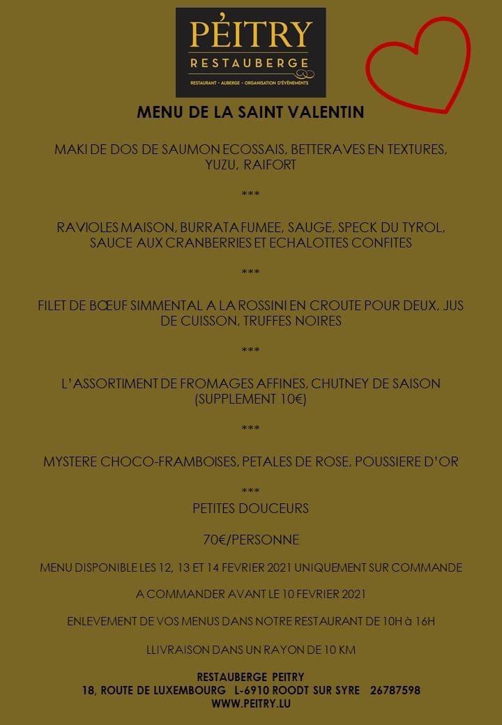 Le menu de Saint-Valentin 2021 du Pèitry. (Photo: DR)
