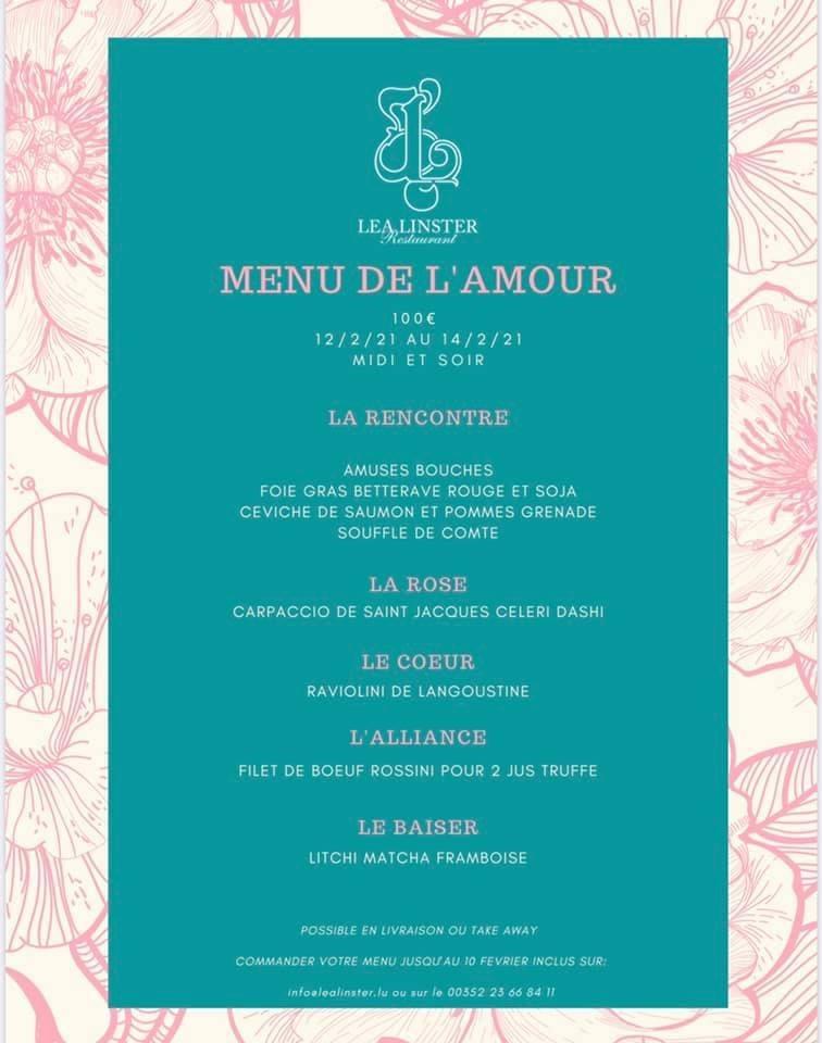 Le menu de Saint-Valentin 2021 du restaurant Léa Linster. (Photo: DR)