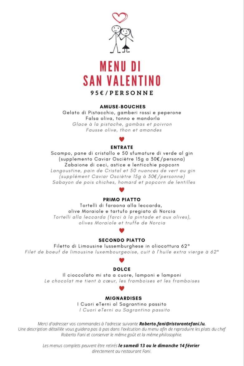 Le menu de Saint-Valentin 2021 du restaurant Fani. (Photo: DR)