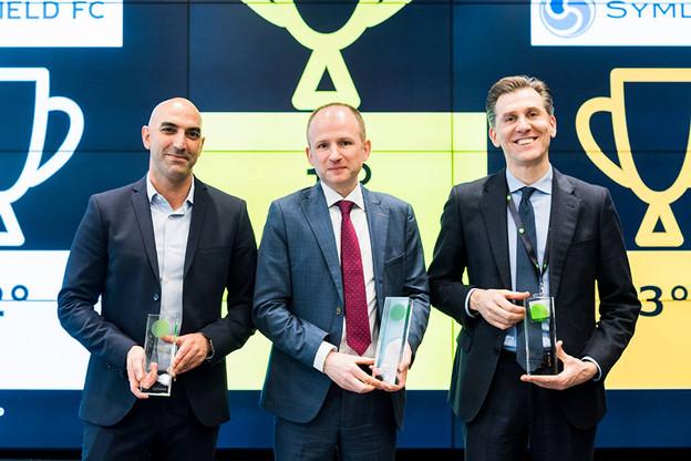 Janvier, Corlytics et son vice-président Kevin O'Leary (ici au centre) remportent le Deloitte Regtech Award. Un des 11 projets à suivre pour le premier NadiFin. (Photo: Corlytics/Carola Ducoli)