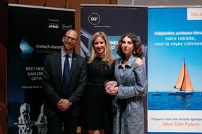 À gauche, Namir Yeroham (président national de JCI pour 2019) et Flavia Carbonetti (Einfühlung, prix coup de cœur du jury) à droite ((Photo: Matic Zorman))