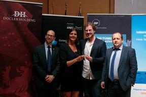 À gauche, Namir Yeroham (président national de JCI pour 2019), Catherine Hoffmann et Pierre Beck (Fox Drinks , 3e prix Cyel 2019) ((Photo: Matic Zorman))