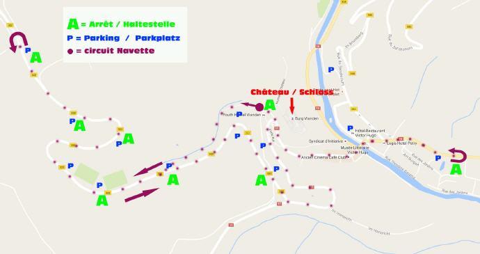 Emplacement des différents arrêts de bus à disposition des visiteurs. (Plan:Les Amis du Château de Vianden asbl)