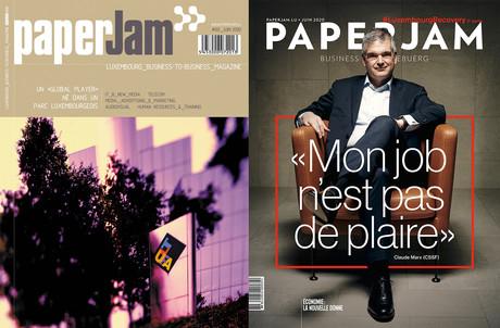 20 ans séparent ces deux couvertures de Paperjam. La première (à gauche) fut celle du numéro zéro, paru en juin 2000. Celle de droite est celle du dernier numéro, en date de juin 2020. (Photo: Maison Moderne)