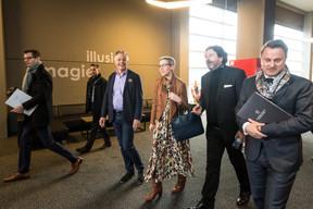 Jo Kox (ministère de la Culture), Sam Tanson (ministre de la Culture), Guy Daleiden (directeur, Film Fund Luxembourg), Xavier Bettel (Premier ministre, ministre des Communications et des médias), ((Photo: Nader Ghavami / Maison Moderne))