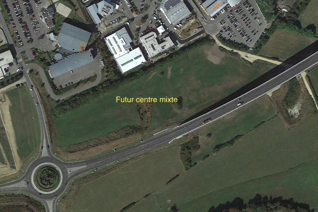 Le futur centre mixte se dresseraau croisement de la rue Emile Nilles et de la route d'Echternach. (Photo: Google Earth/Capture d'écran)