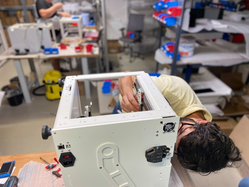 An employee pieces together a 3D printer at theAnisoprint manufacture facility in Luxembourg Anisoprint