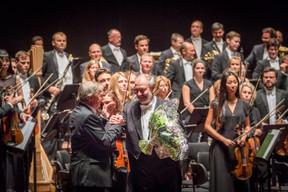 Jeannot Krecké (EWUB) et le chef d'orchestre  Valery Gergiev ((Photo:Marie De Decker pour EWUB))