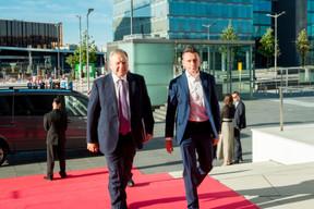 Vsevolod Rozanov (PJSFC Sistema group, Russie, membre du conseil d'administration de EWUB) et Ilya Filatov (Membre du conseil d'administration de EWUB, président de MTS-Bank, Russie) ((Photo: Florian Talon pour EWUB))