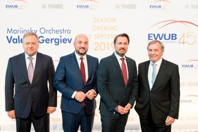 Vsevolod Rozanov (EWUB), Étienne Schneider (Ministre de l'Économie), Xavier Bettel (Premier ministre) et Jeannot Krecké (EWUB) ((Photo:Marie De Decker pour EWUB))