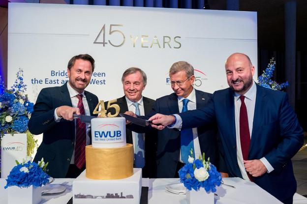 Xavier Bettel (Premier ministre), Jeannot Krecké (EWUB), Vladimir Evtushenkov (Sistema Group) et Étienne Schneider (Ministre de l'Économie) (Photo: Marie De Decker pour EWUB)