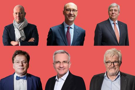De gauche à droite, de haut en bas: Jean-Louis Schiltz, Michel Wurth, Yves Elsen, Serge Allegrezza, Franck Esser et Raymond Schadeck. (Montage: Maison Moderne)