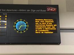 Sur le panneau où tous les TER sont annoncés à l'heure, un avertissement spécial pour ceux qui vont à Luxembourg. ((Photo: Paperjam))