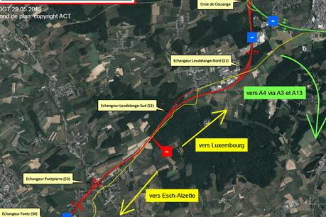 Des barrages seront notamment mis en place entre la croix de Cessange et la jonction d'Esch dans les deux sens. (Photo: Administration des ponts et chaussées)
