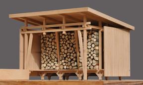 L'abri de jardin permet de stocker 6m 3  de bois. ((Photo: Agence d'Architecture Stanislaw Berbec'))