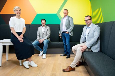 Thierry Vanbever, Managing Director de SD Worx Luxembourg, et son équipe Sales & Marketing, Anne-Lise Demortier, Etienne Piot et Tom Brahy.  (Photo: Simon Verjus/Maison Moderne)