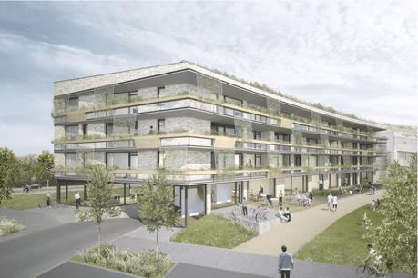 La coopérative d'habitation Adhoc pourra construire son immeuble sur un terrain du Fonds Kirchberg auRéimerwee. (Illustration: BalliniPitt)