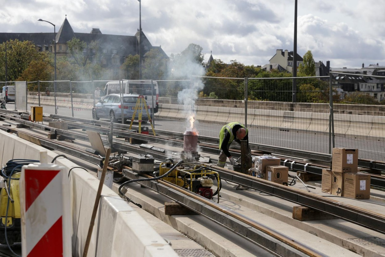 Luxtram will begin to build the new tram line to Findel this month. Preparatory work gets underway on Monday. Library picture: Luxtram construction work seen on the Pont Adolphe, 24 September 2020. Photo: Romain Gamba