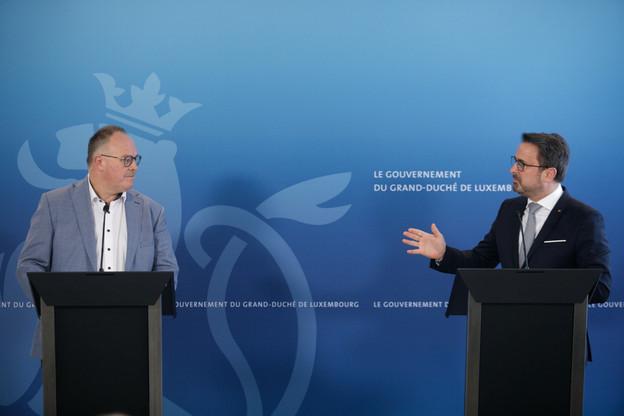 XavierBettel et ses ministres (ici RomainSchneider) étaient réunis mercredi. (Photo: Matic Zorman/Maison Moderne)