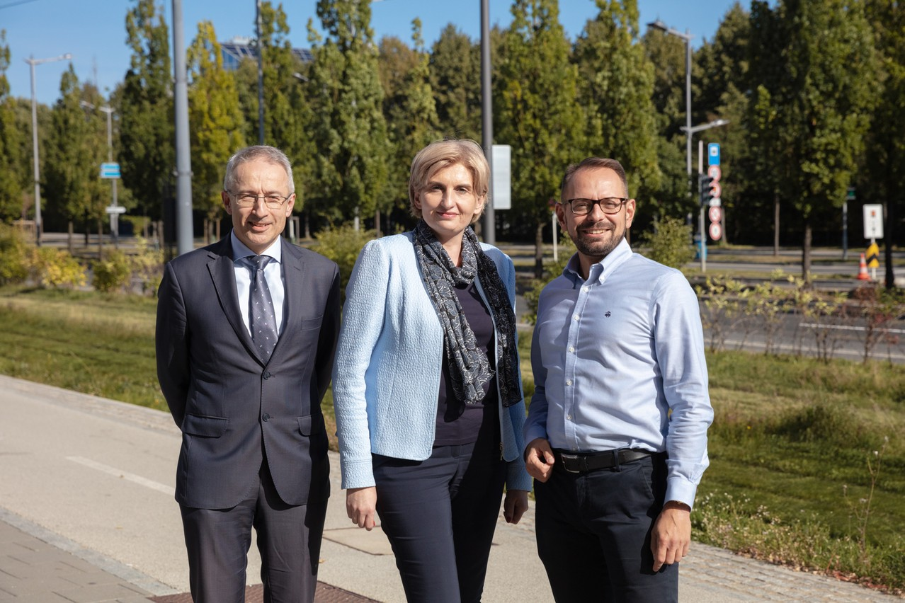 Piotr Zaczek, Agnieszka Sawa and Jerzy Kasprzak of Q Securities, which started providing depositary services to alternative funds in Luxembourg earlier this year, are seen during an interview with Delano. Photo: Romain Gamba / Maison Moderne