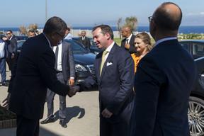 (de g. à dr.) Fouad Brini, président du Conseil d'Administration de l'Agence Spéciale Tanger Méditerranée (TMSA); S.A.R. le Grand-Duc héritier; S.A.R. la Grande-Duchesse héritière; Oussama El Bakri, chargé de mission, protocole royal du Maroc ((Photo: SIP / Jean-Christophe Verhaegen))