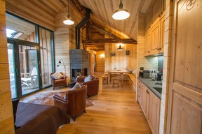 The cosy interior of one of the lodges  Photo: Morgane Bricard