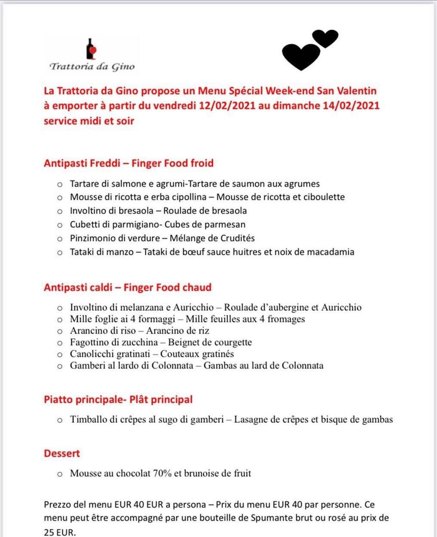 Le menu de Saint-Valentin 2021 à emporter de la Trattoria da Gino, à Luxembourg-Gare. DR