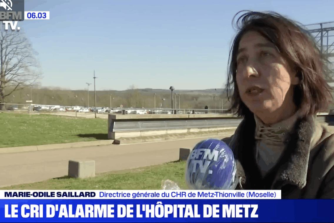 L'hôpital de Metz-Thionville vit une situation dramatique. Comme l'a expliqué sa directrice générale auprès de BFMTV. (Photo: Capture d'écran BFM TV)