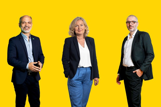 Robert Fornieri, secrétaire général adjoint du LCGB, Isabelle Schlesser, directrice de l'ADEM, Roberto Mendolia, président de l'ALEBA. (Montage: Maison Moderne)