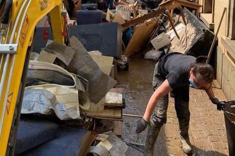 À Echternach, il faudra encore plusieurs jours pour nettoyer les dégâts des inondations. (Photo: Twitter)