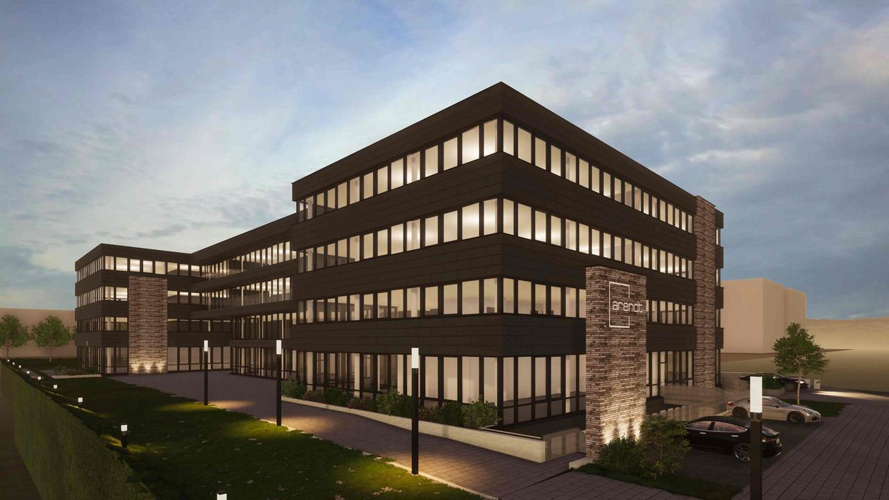 Le futur bâtiment est dessiné pour s'associer visuellement au siège du groupe, situé au Kirchberg. (Photo: Arendt)