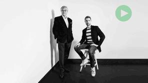 Hubert d'Ursel, Head of Art Advisory chez Degroof Petercam, et Charles,jeune entrepreneur. (Photo: Maison Moderne)