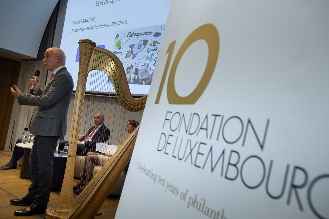 2019 archive photo shows Michel Sanitas (Fondation Prairial) at the tenth anniversary of the Fondation de Luxembourg, one of 219 foundations in Luxembourg Photo: Nader Ghavami