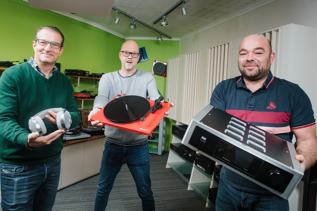ThierryAbondance, MarcWelteret GuyFoetz, les trois associés à la tête de L'Audiophile. (Photo: Nader Ghavami)