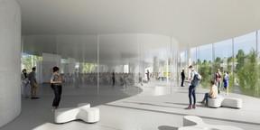 Vue de l'auditorium du premier étage. ((Illustration: SANAA))