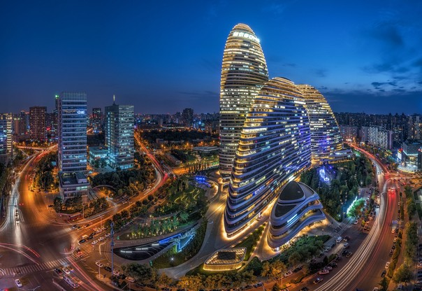 Beijing, China – July 13th, 2016: cityscape and famous landmark building, WangJing Soho at night. Bingdian
