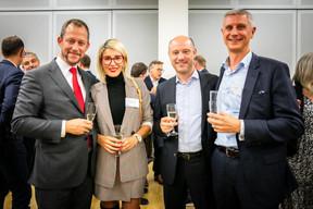 Hugues Lermusiaux (Eaglestone), Alina Lermusiaux (Optim Solutions), Harry Chkolar (Atenor) et Vincent Adam (Atenor) ((Photos: Vincent Remy pour CBRE))