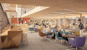 L'immeuble doit se prêter aux nouvelles façons de travailler avec plusieurs espaces de collaboration. Un «village» au centre du bâtiment devra favoriser les échanges et des salons permettront d'accueillir les clients dans un cadre chaleureux. (Bâloise)