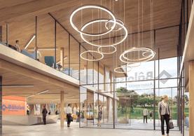 Le rez-de-chaussée est conçu comme un lieu de vie, d'accueil et d'échange ouvert sur des espaces de coworking et de restauration.  (Bâloise)