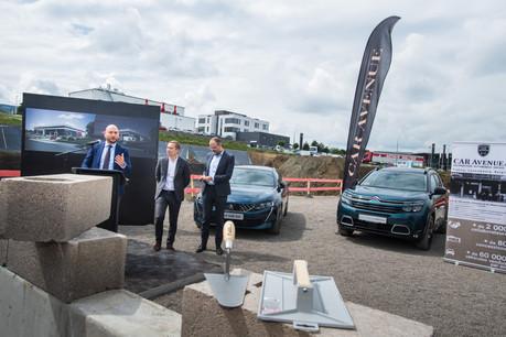 Stéphane Bailly (au pupitre) a présenté ce mardi 11 juin la nouvelle concession de Leudelange, lors de la pose de la première pierre. (Photo: Nader Ghavami)